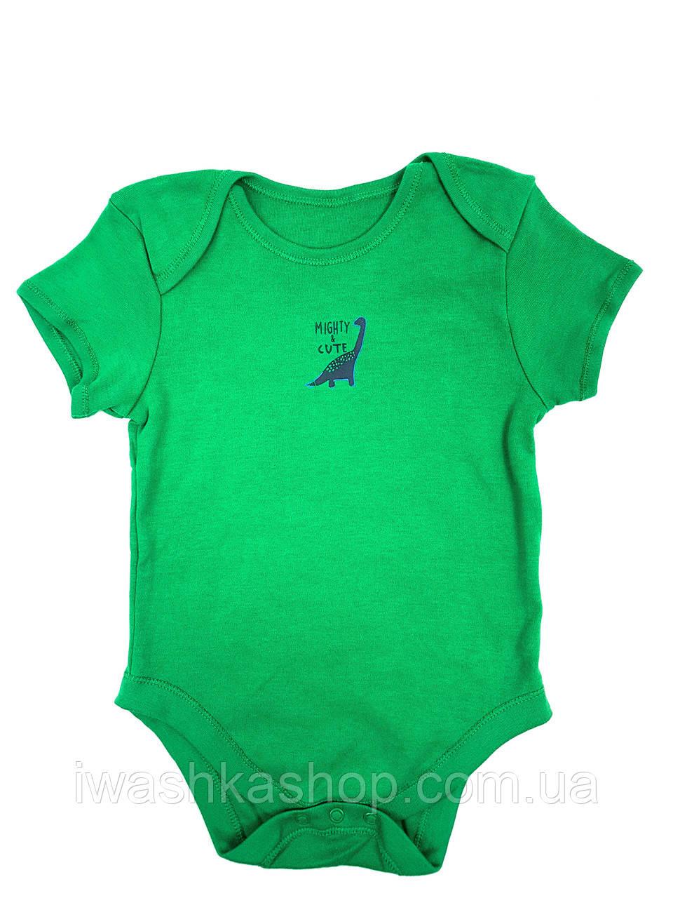 Зеленый боди с короткими рукавами с динозаврами для мальчика 1,5 - 2 года, размер 92, Primark baby, Германия