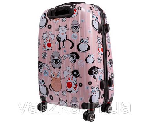 Чемодан пластиковый средний из поликарбоната чемодан Airtex WorldLine с принтом котики, фото 2