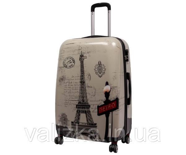 Чемодан пластиковый большой из поликарбоната чемодан Airtex WorldLine с принтом Париж