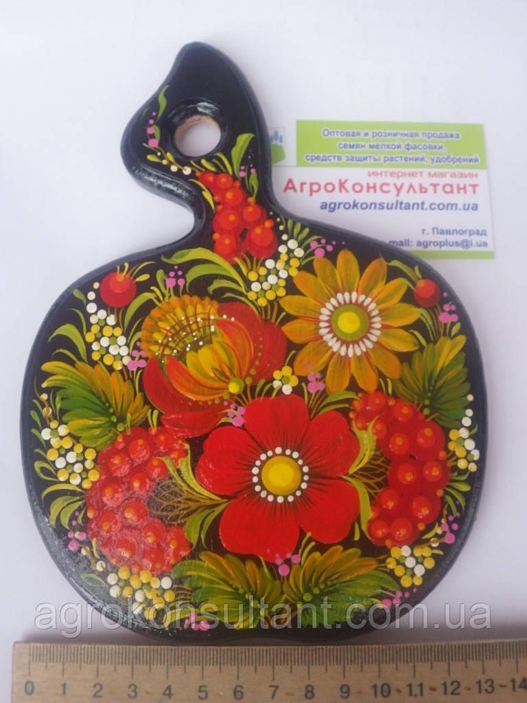 Кухонная доска в виде яблока (средняя) - Петриковская роспись / Kitchen board - Petrikov painting