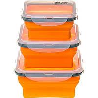 Набор туристической посуды Tramp из 3х контейнеров силиконовых 400/700/1000ml orange (TRC-089-orange)