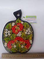 Кухонная доска в виде яблока (большая) - Петриковская роспись / Kitchen board - Petrikov painting