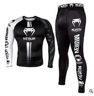 Компрессионный комплект спортивной одежды Venum Cobra black mma Венум Кобра черная рашгард лосины