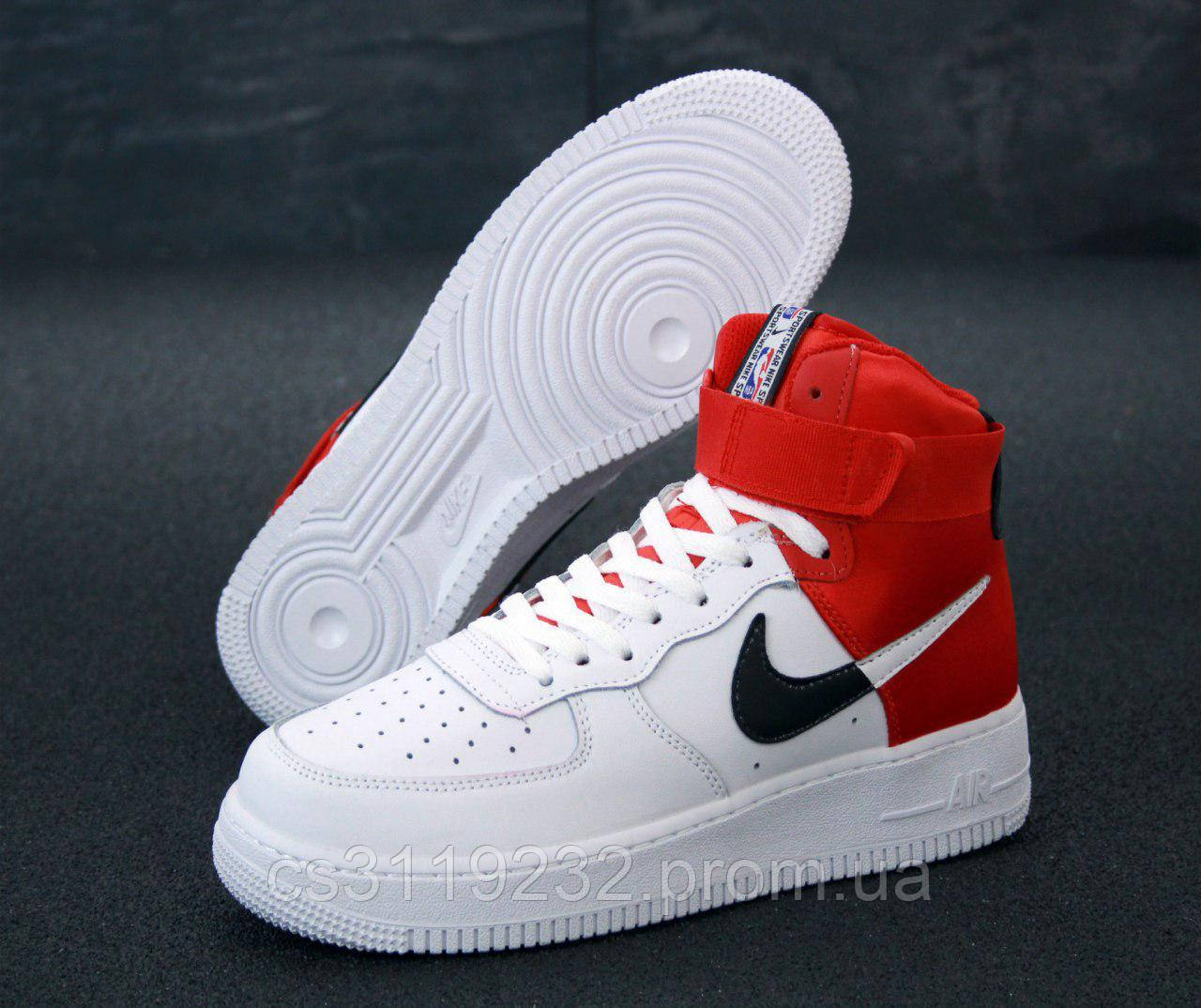 Мужские кроссовки Nike Air Force (красно-белые)