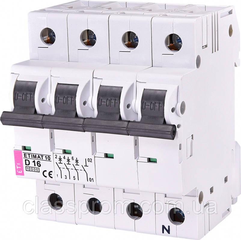 Авт. выключатель ETIMAT 10  3p+N D 16А (10 kA), ETI, 2156716
