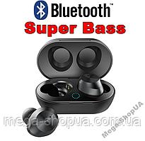 Вакуумные сенсорные наушники и гарнитура беспроводные Bluetooth блютуз TW9B для телефона. Бездротові навушники