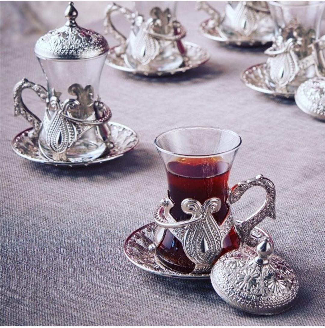 Чайные армуды Sena Kusakli серебристый 6 штук