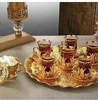 Набор чайных стаканов Sena Hanedan золотистый на 6 персон, фото 1