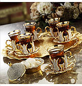 Набор чайных стаканов Sena Karizma золотистый со стразами на 6 персон