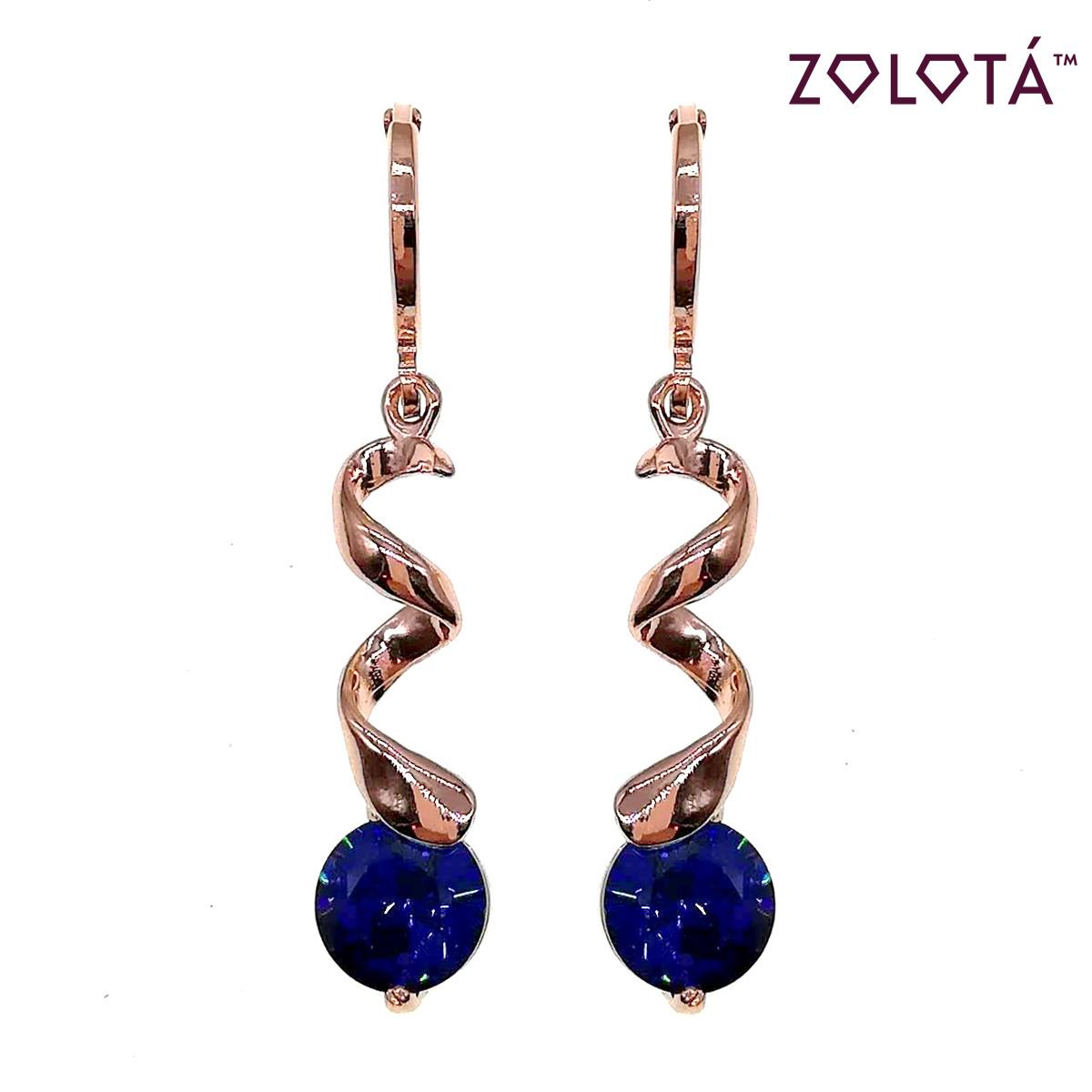 Серьги Zolota с синими фианитами (куб. цирконием), из медицинского золота, в позолоте, ЗЛ00649 (1)