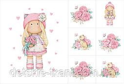 """Набор панелей из сатина """"Куколка-девочка с цветами и котиком"""""""