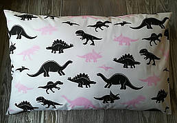 Наволочка динозаврики на белом фоне с запахом, на детскую подушку  60 *40 см, 100% хлопок