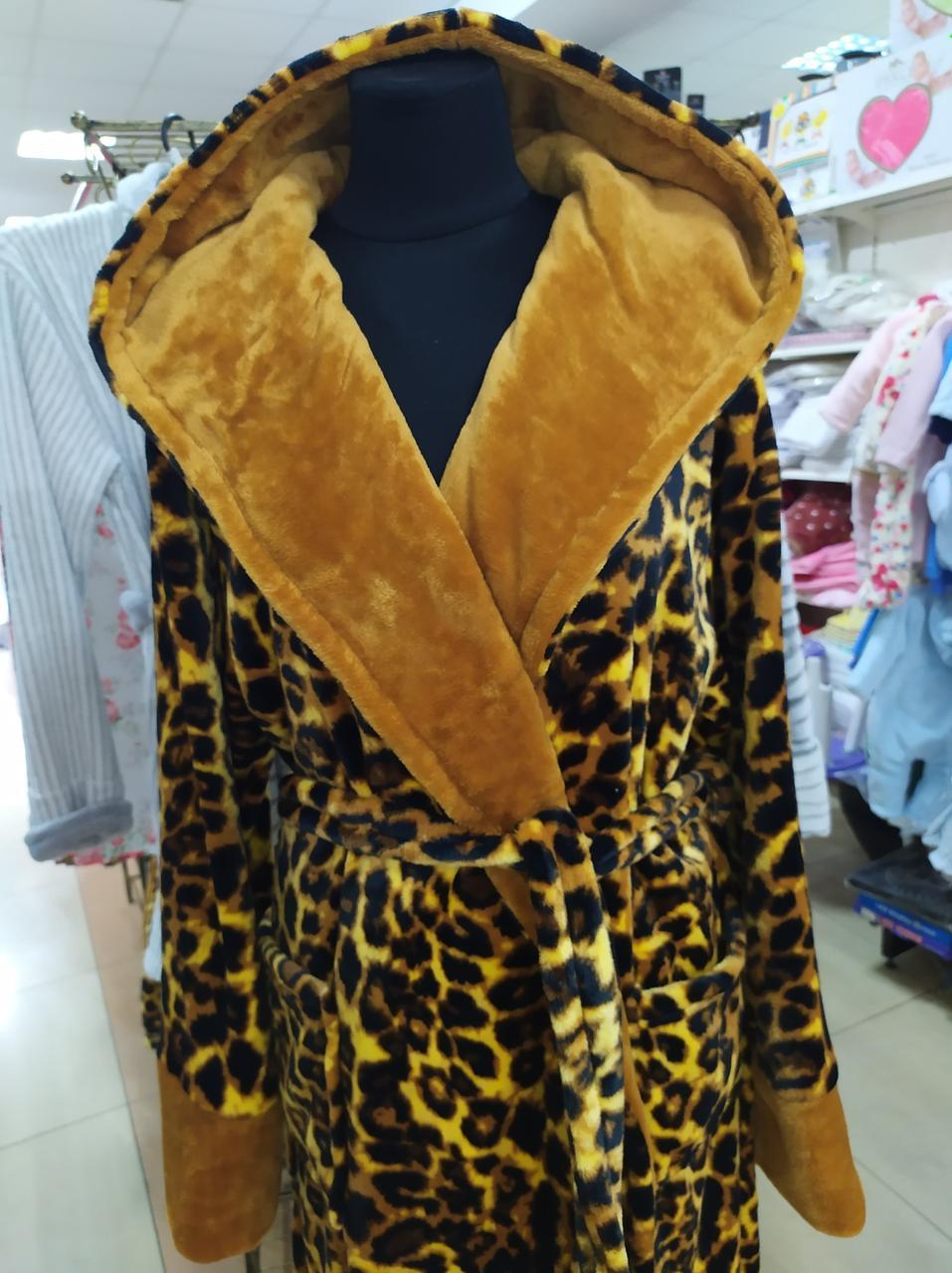 Длинный женский махровый халат Леопард Romance М-5XL