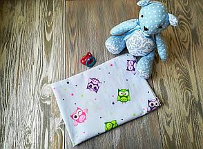 Наволочка совы на голубом фоне с запахом, на детскую подушку  60 *40 см, 100% хлопок, фото 3