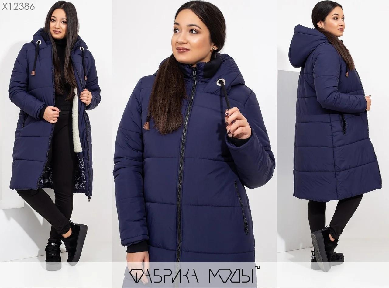 Зимнее пальто с капюшоном полу-приталенного кроя на овчине Размеры: 48-50, 52-54, 56-58
