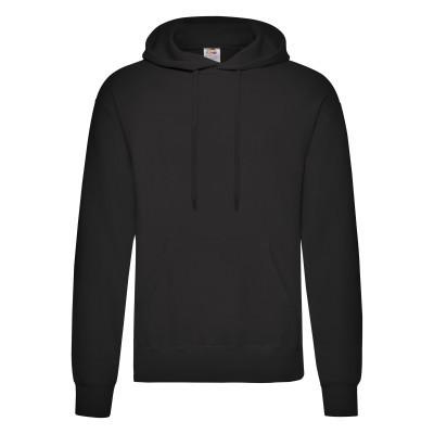 Стильная однотонная мужская толстовка с капюшоном на флисе черная - S, M