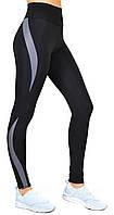 Спортивные леггинсы для фитнеса с высокой посадкой / лосины с утяжкой Valeri 1231 черные с серой вставкой