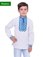 Вышиванка для мальчика Млад белый лен длинный рукав 122, 128, 134,140,146, 152 рост