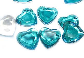 Стразы пришивные акриловые Сердце, Размер:20x20 мм, Цвет Голубой. В упаковке 50шт.