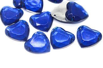 Стразы пришивные акриловые Сердце, Размер:16x16 мм, Цвет Синий. В упаковке 100шт.