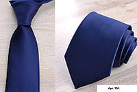 Галстук синий однотонный