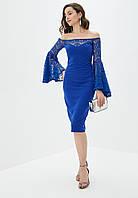 Эффектное платье футляр со спущенными расклешенными рукавами из гипюра   Fleur