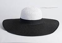 Черно-белая широкополая шляпа (203)