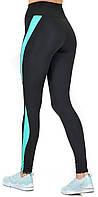 Спортивные лосины с утяжкой для фитнеса / леггинсы для спорта с высокой посадкой / Valeri1231 черные с бирюзой