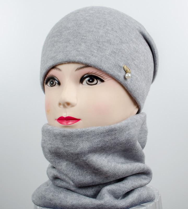 """Комплект """"Милена"""", шапка+снуд, (Серый)"""