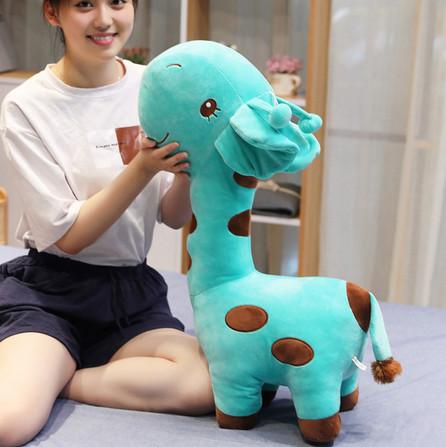 Плюшевый жираф, мягкие игрушки, плюшевая игрушка жираф бирюзовый 55 см