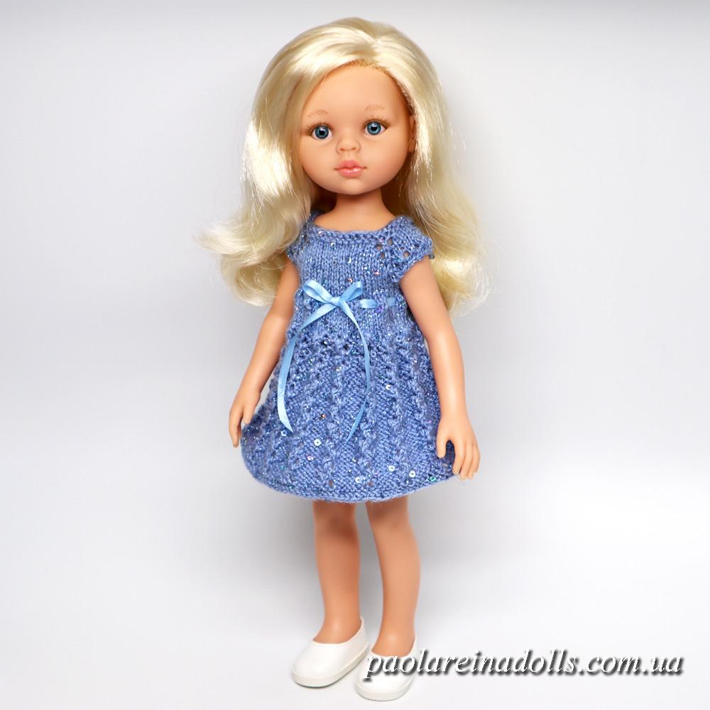 """Платье """"Голубой вьюнок"""" с паетками для кукол Паола Рейна"""