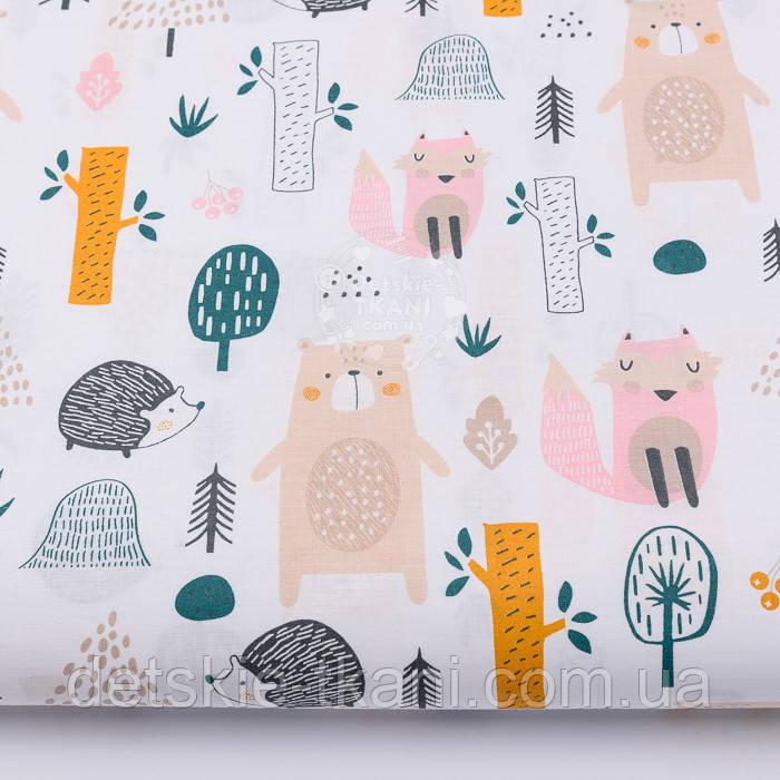 """Ткань хлопковая """"Розовая лисичка, бежевый медведь и ёжик"""" (№2569)."""