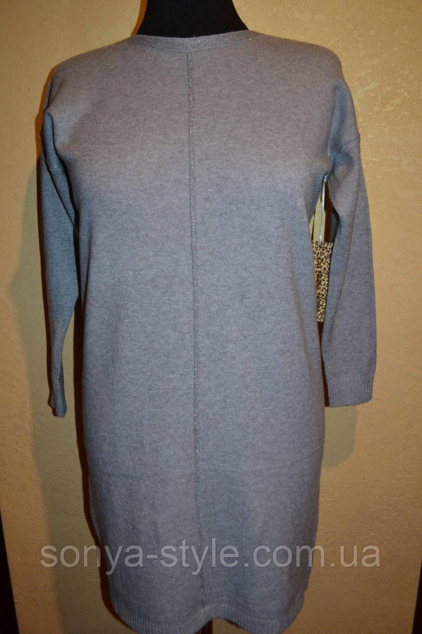 Женское платье с люрексовыми вставками    больших размеров