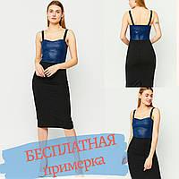 Платье женское черно-синее, приталенное, на бретелях