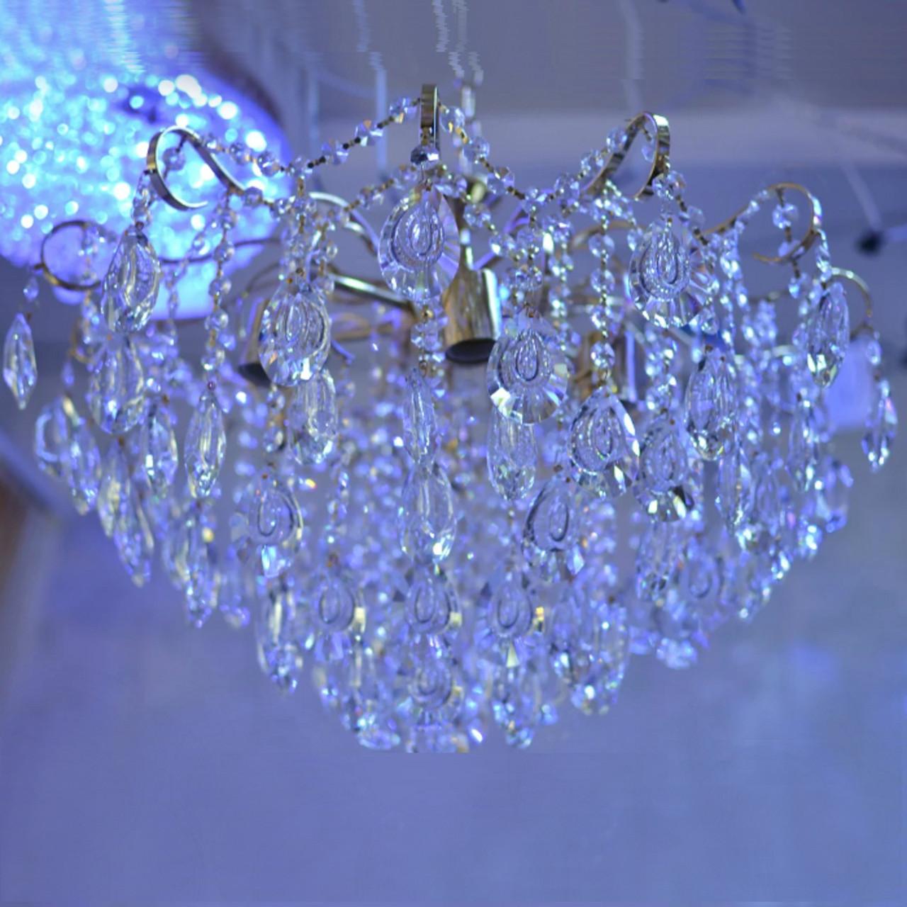 Люстра, хрустальная, 6 ламп, серебро