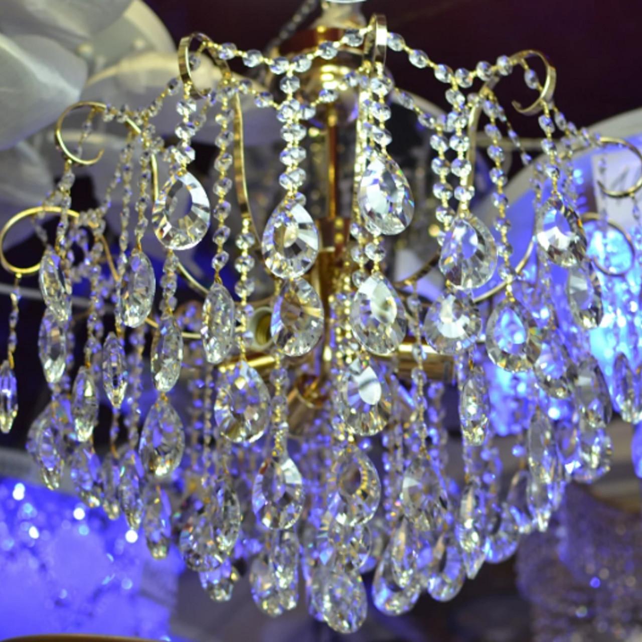 Люстра, хрустальная, 6 ламп, золото
