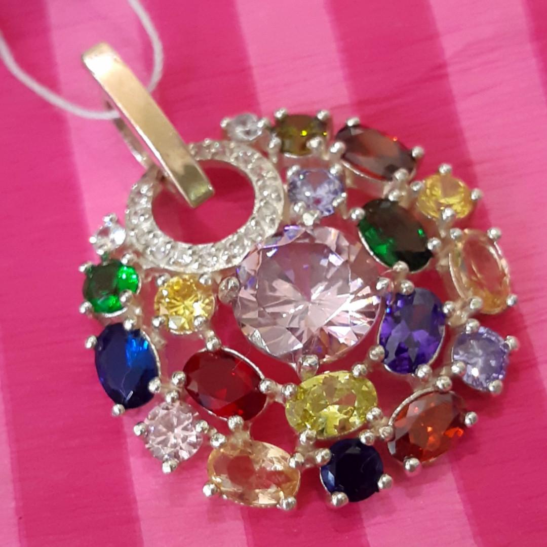 Женский серебряный кулон с разноцветными камнями
