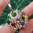 Женский серебряный кулон с разноцветными камнями, фото 4