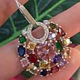Женский серебряный кулон с разноцветными камнями, фото 3