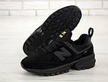 Мужские кроссовки New Bаlance 574 Sport V2 в стиле Нью Беланс ЧЕРНЫЕ (Реплика ААА+), фото 5