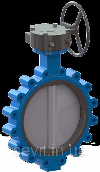 Задвижка дисковая поворотная баттерфляй тип LUG T.I.S service (Италия) D114GS DN250 PN10/16 с редуктором