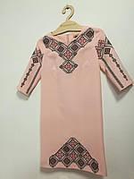 Платье женское вышитое Василиса с черно-красной вышивкой рукав 3/4 MOTYV by Piccolo L