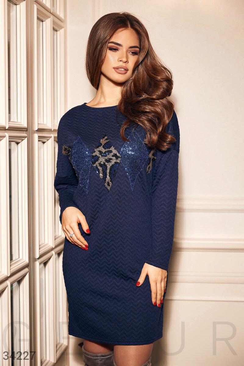 Трикотажное платье-мини с декором из пайеток темно-синее