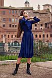 Расклешенное платье-миди с рюшами синее, фото 2