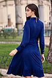 Расклешенное платье-миди с рюшами синее, фото 5