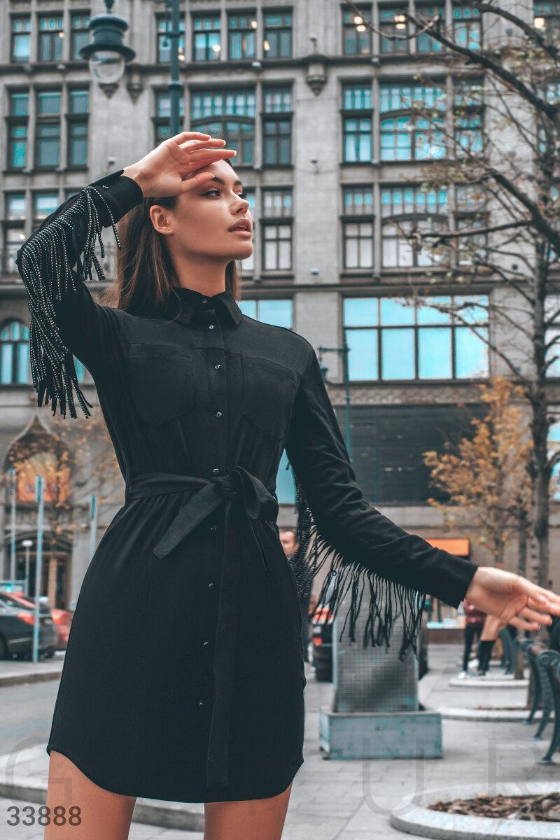 Платье-рубашка с бахромой из эко-замши