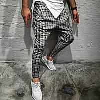 Модні чоловічі турецькі штани сірі в чорну клітку - розмір XL