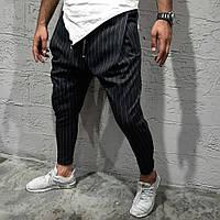 Классные мужские летние брюки-штаны зауженные черные в полоску