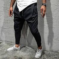 Класні чоловічі літні брюки-штани, завужені чорні в смужку - M, L