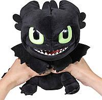 Мягкая игрушка плюшевый дракон Беззубик со звуком 28 см Dreamworks Dragons  Squeeze & Roar Toothless